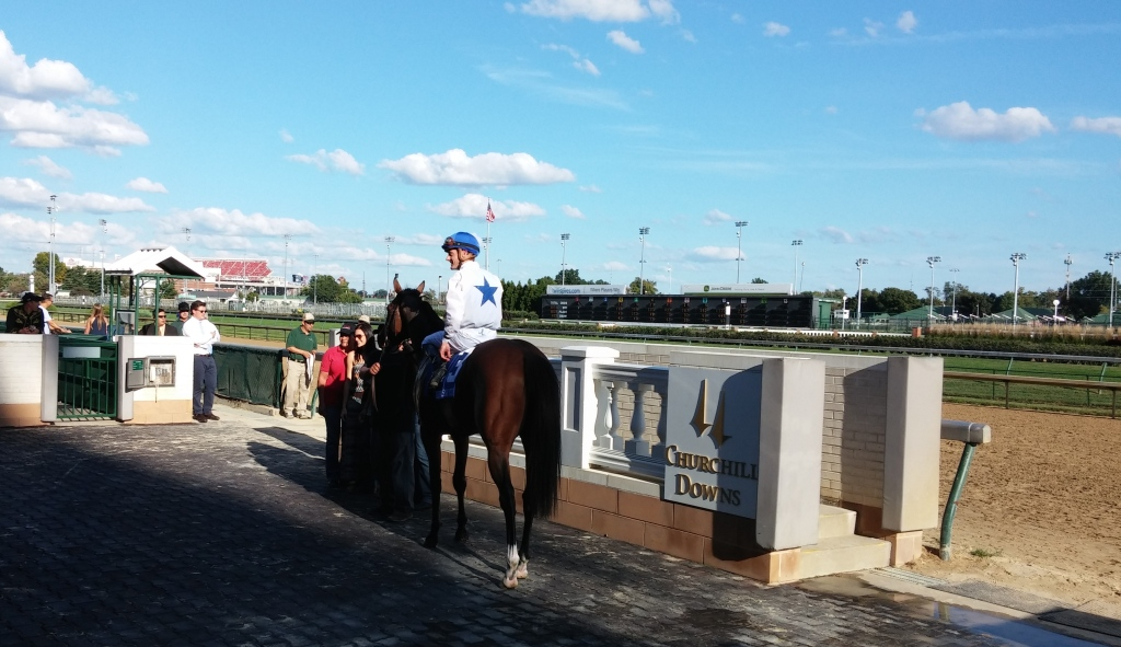 Heart to Heart in the winner's circle, after his first graded stakes win in the Jefferson Cup (GIII).