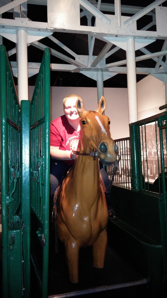 Inside the first electric starting gate used at the Derby, this is the closest I will ever get to being a jockey.