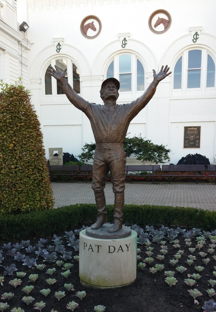 Pat Day, all-time leading rider at Churchill Downs, may not have grown to five feet tall in real life...but he is five feet tall in this paddock statue.