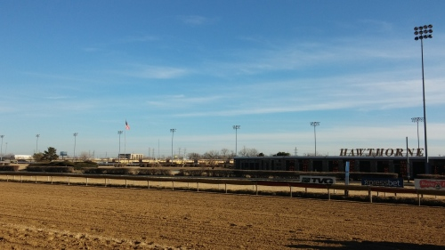 A sun-drenched Hawthorne main track, moments before the 8th race on Saturday, March 14.