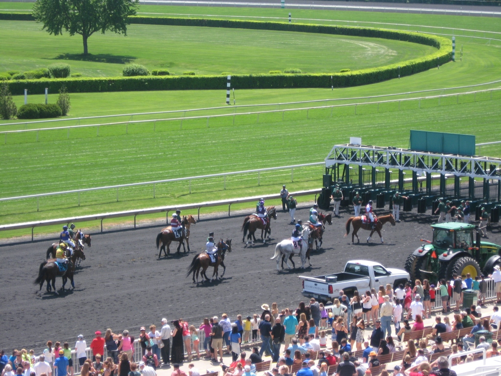 The crowd awaits a sunny Saturday of racing at Arlington.